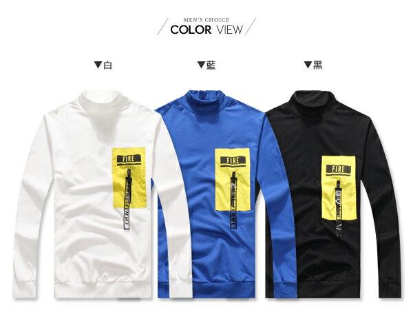 ☆BOY-2☆【NQ96015】立領FIRE拼接拉鍊大學T 1