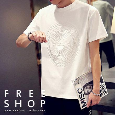 Free Shop【QFSJM1019】美式休閒立體圓形民族風圖騰壓紋圓領太空棉短T短袖上衣潮T 二色