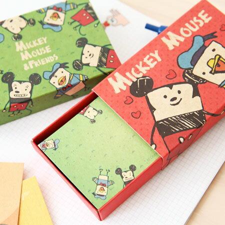 正版迪士尼名片卡盒 抽屜式 牛皮紙 名片 造型便條紙 禮物卡 留言卡 便條紙 米奇 唐老鴨【N100876】