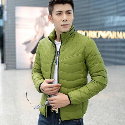 羽絨外套立領夾克~超輕保暖白鴨絨 男裝2色73ij1~ ~~米蘭 ~ ~  好康折扣