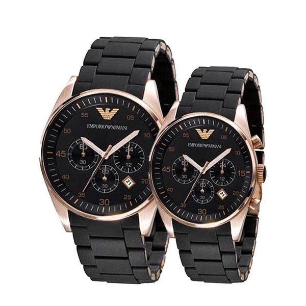 【ARMANI亞曼尼】膠鋼帶石英黑\金配色-情侶對錶(AR5905\AR5906) 0