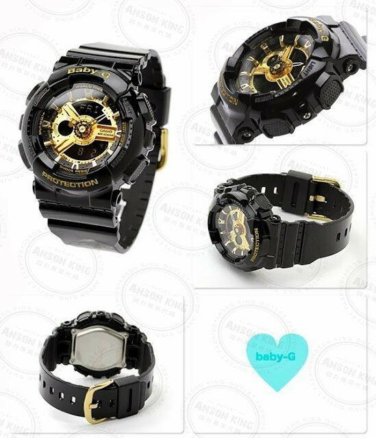 國外代購CASIO BABY-G BA-110-1A 黑金 雙顯 防水 手錶 腕錶 情侶錶 女生聖誕交換禮物 2
