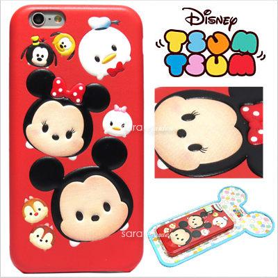 免運 官方授權 迪士尼 Tsum Tsum 疊疊樂 立體 皮革 Q版 iPhone 6 6S Plus 手機殼 保護套 皮套 米奇家族【D0801062】