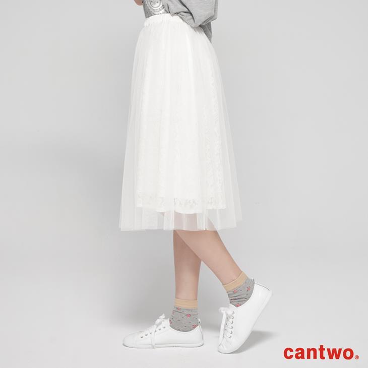 cantwo蕾絲花朵網紗及膝裙(共二色) 2