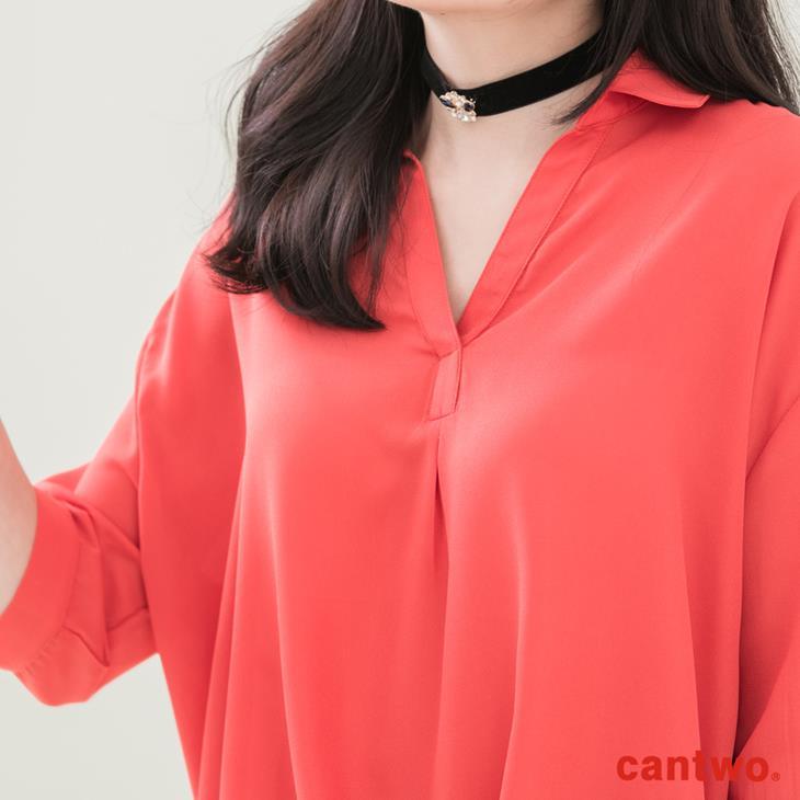 cantwo弧襬五分袖雪紡襯衫(共三色) 4