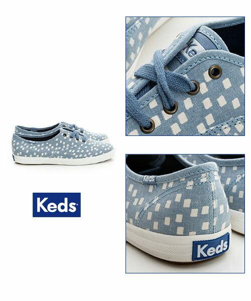 Keds 雪花片片綁帶休閒鞋-淺藍/方塊 4