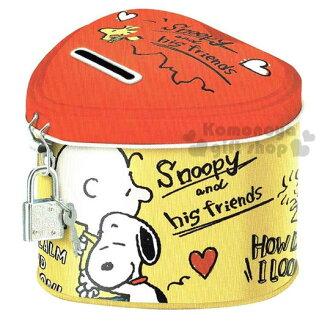 〔小禮堂〕史努比 鐵製心型存錢筒《紅黃.糊塗塔克.朋友.盒裝》附小鎖