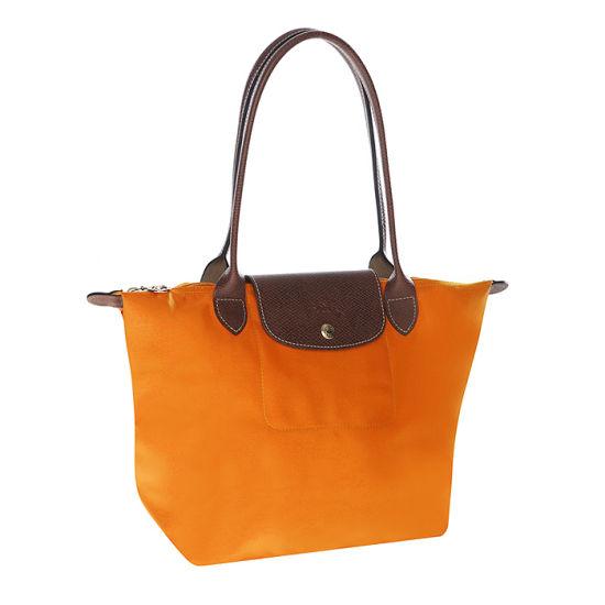 [2605-S號] 國外Outlet代購正品 法國巴黎 Longchamp 長柄 購物袋防水尼龍手提肩背水餃包 亮橙色 0