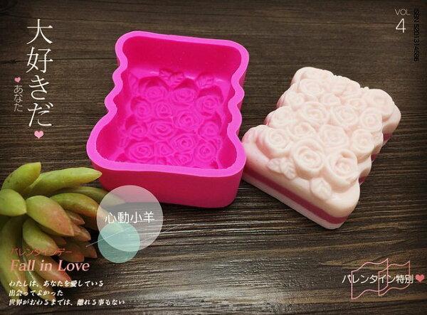 心動小羊^可愛玫瑰花辦長型皂模 可愛矽膠模具 矽膠皂模 手工皂模具
