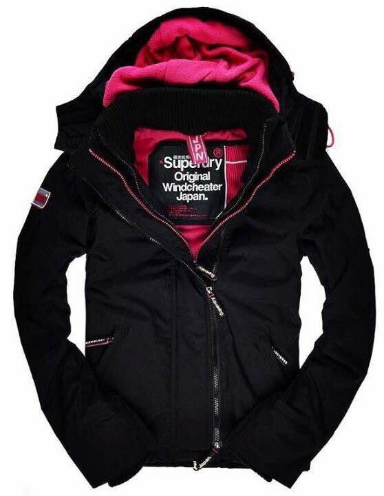 [女款]英國極度乾燥 Superdry Arctic Windcheater 2016新款 三層拉鍊連帽保暖防風外套 黑/桃 0