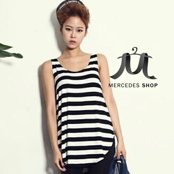 梅西蒂絲-韓國東大門時尚無袖條紋T恤