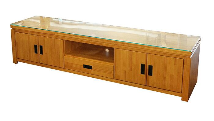 ~尚品傢俱~702~22 西伯利亞7尺原木色電視櫃(含玻 , 柚木色) TV櫃 收納櫃 長