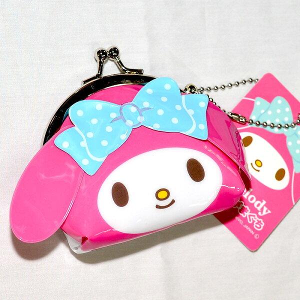 Melody 美樂蒂 零錢包 珠扣 口金包 吊飾 雙面印刷 日本正版商品