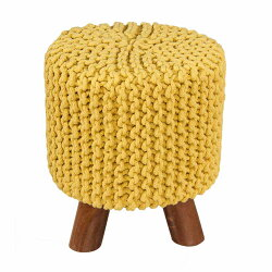 Homescapes 100% Cotton Yellow Knitted Pouffe Footstool - 32 X 32 X 42 cm
