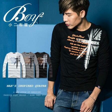 ☆BOY-2☆ 【NR73950】美式潮流休閒國旗長袖T恤 0