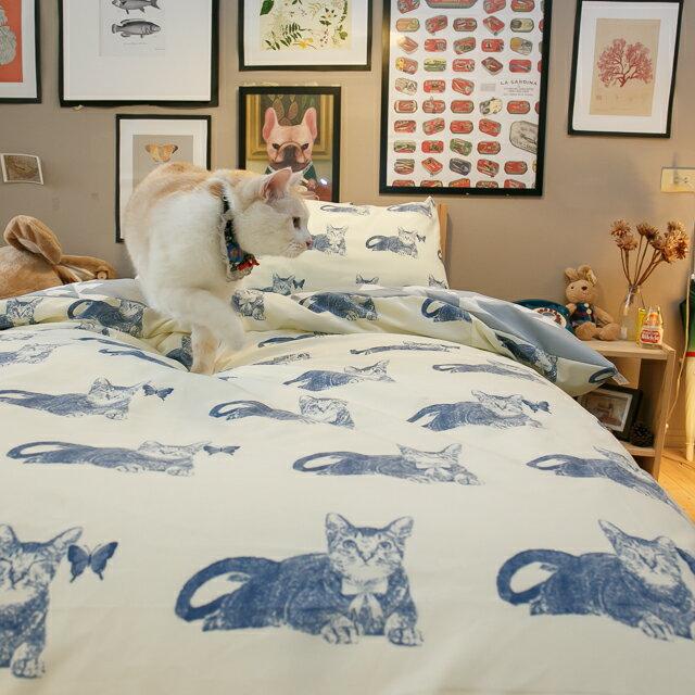 Blue cat 藍貓【床包藍底白三角形】單人/雙人熱賣組   舒適磨毛布 台灣製造 5