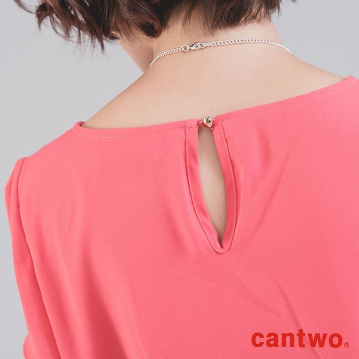 cantwo直筒荷葉袖簡約洋裝附項鍊(共三色) 5