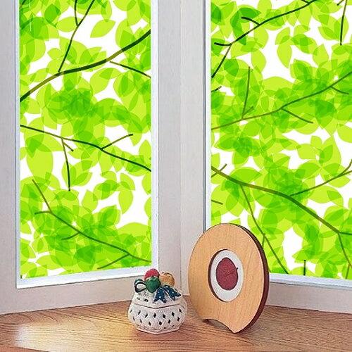 【零碼】日本MEIWA抗UV節能靜電窗貼 (綠葉盈窗) - 39x91公分