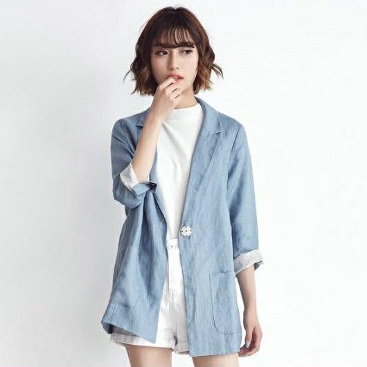 PS Mall 韓版棉麻翻袖百搭西裝外套 罩衫 薄外套【T1442】太陽的後裔 宋慧喬