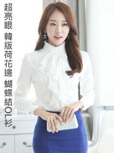 韓版 OL襯衫 上班族 公主款 高領雪紡衫 長袖(蝴蝶結)CPS10