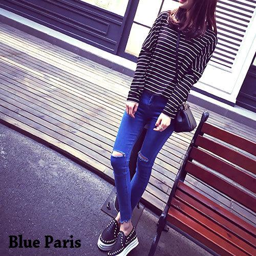 促銷免運 - 牛仔褲 - 牛仔抓破鬚鬚窄管褲 《S~L》現貨【23262】藍色巴黎