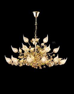 高檔藝術吊燈 24k金仙桃拉絲玻璃   訂製品