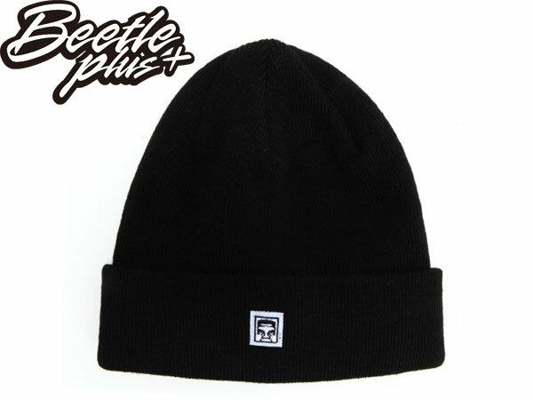 BEETLE PLUS 西門町經銷 全新 美國品牌 EIGHTY NINE BEANIE 人臉標 反摺 毛帽 針織帽 黑 100030072BLK OB-373 0