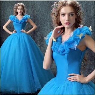 天使嫁衣【AE7186】藍色經典灰姑娘款齊地晚禮服˙預購訂製款