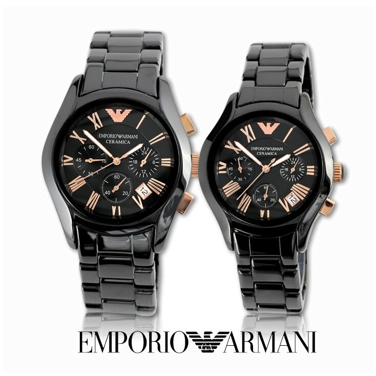 【ARMANI亞曼尼】經典羅馬黑色陶瓷三眼計時腕錶\情侶款(AR1410\AR1411)-玫瑰金 0