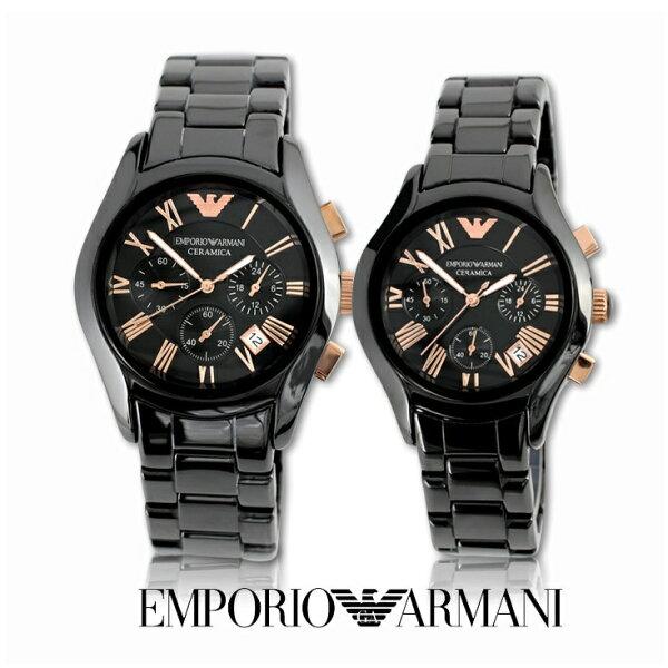 【ARMANI亞曼尼】經典羅馬黑色陶瓷三眼計時腕錶\情侶款(AR1410\AR1411)-玫瑰金