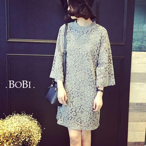 長袖洋裝 蕾絲拼接花邊領七分袖洋裝連身裙【KLT12L】 BOBI  09/08 0