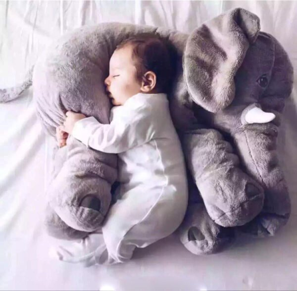 PS Mall 居家療癒熱銷 大象抱枕 嬰兒枕 安撫枕 毛絨玩偶 娃娃 靠枕 嬰兒枕頭 玩具 生日禮物【J2001】