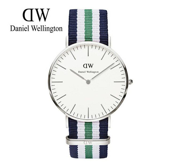 瑞典正品代購 Daniel Wellington 0208DW 銀 尼龍 帆布錶帶 男女錶 手錶腕錶 40MM 0