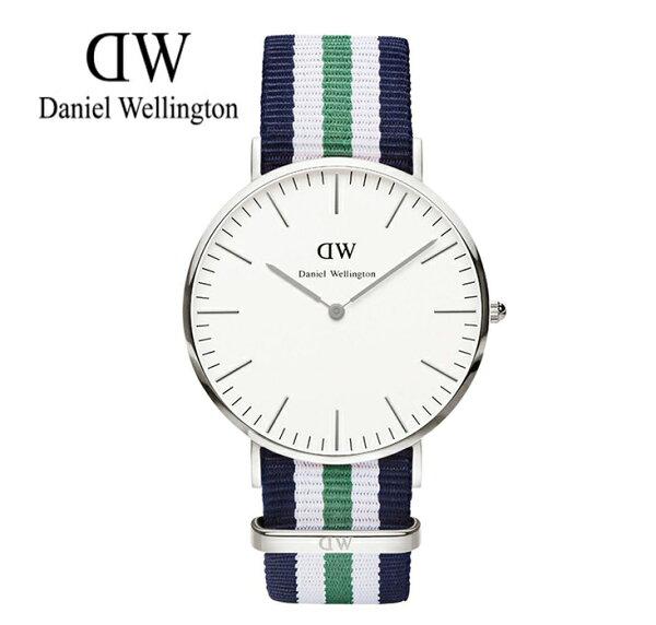 瑞典正品代購 Daniel Wellington 0208DW 銀 尼龍 帆布錶帶 男女錶 手錶腕錶 40MM