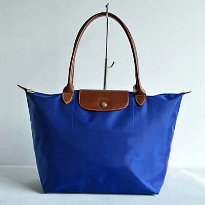 [長柄M號]國外Outlet代購正品 法國巴黎 Longchamp [1899-M號] 長柄 購物袋防水尼龍手提肩背水餃包 靛藍