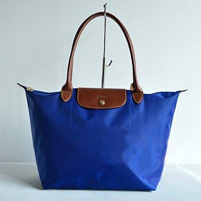 [1899-M號] 國外Outlet代購正品 法國巴黎 Longchamp 長柄 購物袋防水尼龍手提肩背水餃包 藍色 0