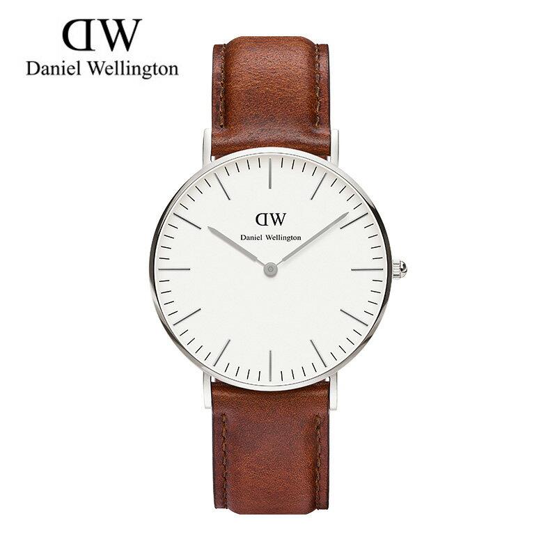 瑞典正品代購 Daniel Wellington 0607DW 銀 玫瑰金 真皮 錶帶 男女錶 手錶腕錶 36MM 0