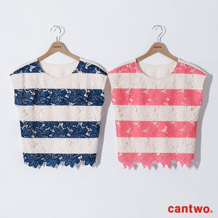 cantwo鏤空雙色條紋蕾絲上衣(共三色) 6
