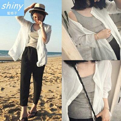 【V1118】shiny藍格子-隨性秋搭.純色圓領寬鬆防曬薄款襯衫外套