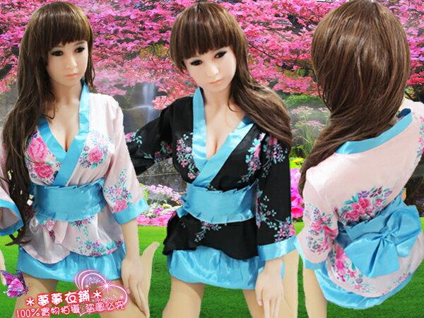Oo粉紅泡泡oO(B288024)100%實品拍攝 粉.黑任選.甜美復古兩件式性感短和服.上衣+澎裙+腰帶