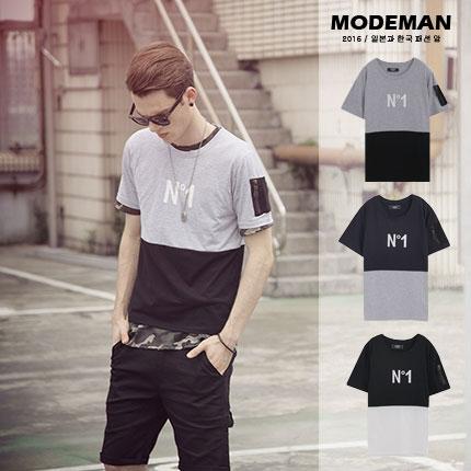 【MODE MAN】N'1配色拼接造型MA-1口袋圓領短T