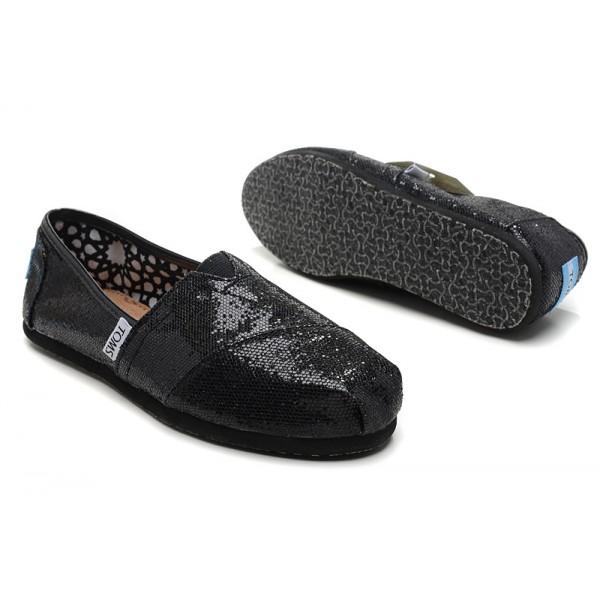 【TOMS】 經典亮片款平底休閒鞋(黑色)  Black Glitter Women's Classics 5