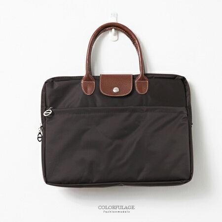 手提包 英倫質感尼龍14吋內通用筆電包 可當公事包 輕巧好攜 柒彩年代【NZ470】品味中性款 0