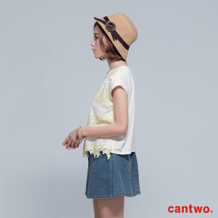 cantwo鏤空雙色條紋蕾絲上衣(共三色) 2