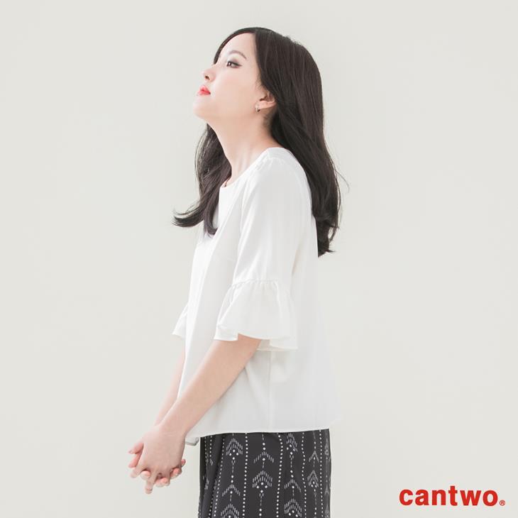 cantwo素面雪紡荷葉五分袖上衣(共二色) 2
