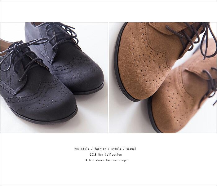 格子舖*【KPW9908】MIT台灣製 學院風復古英倫雕花 質感麂皮繫帶牛津鞋 平底包鞋 2色 2