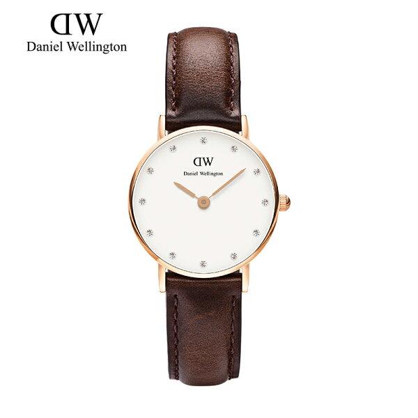 瑞典正品代購 Daniel Wellington 0903DW  玫瑰金鑽  真皮 錶帶 男女錶 手錶腕錶 26MM