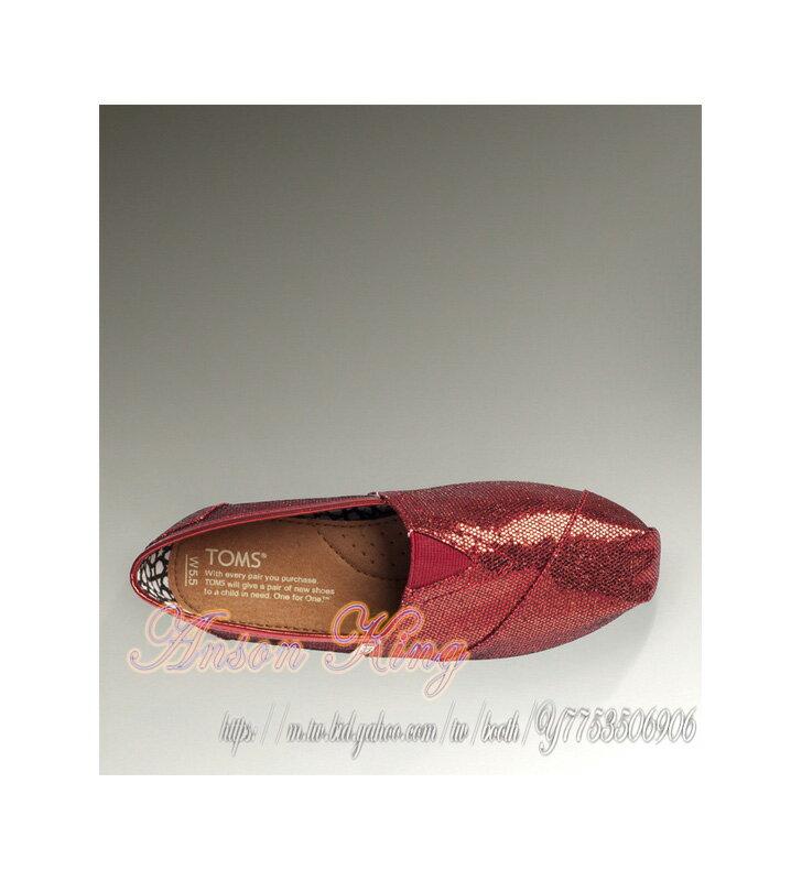 [女款] 國外代購TOMS 帆布鞋/懶人鞋/休閒鞋/至尊鞋 亮片系列  紅色 3