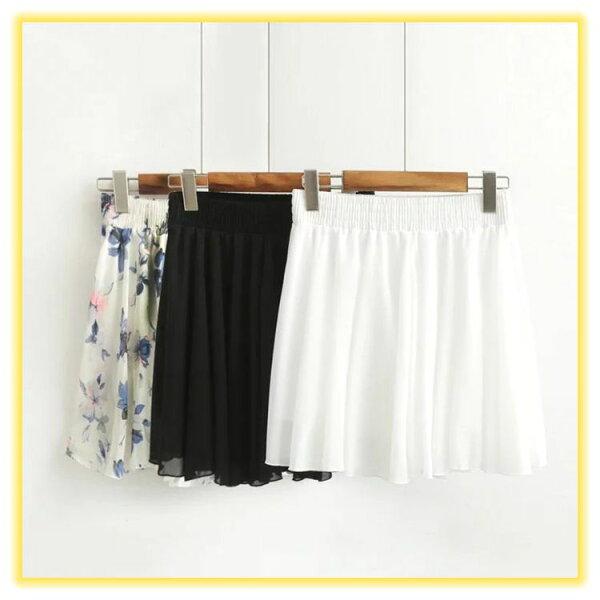 韓版花朵雪紡褲裙