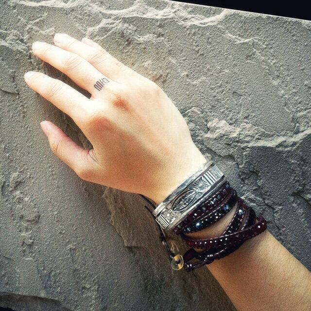 【海外訂購】【Indian Jewelry】印地安圖騰方形手鐲(花紋隨機出貨)(Navajo-026-R) 1